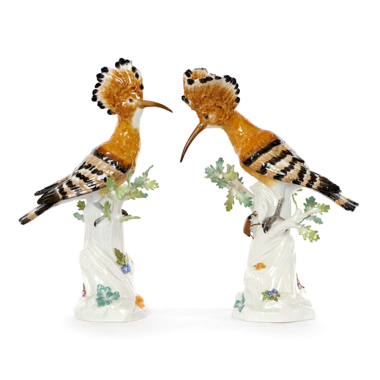 A pair of Meissen figures of Hoopoe birds (Wiedehopf), 20th Century.