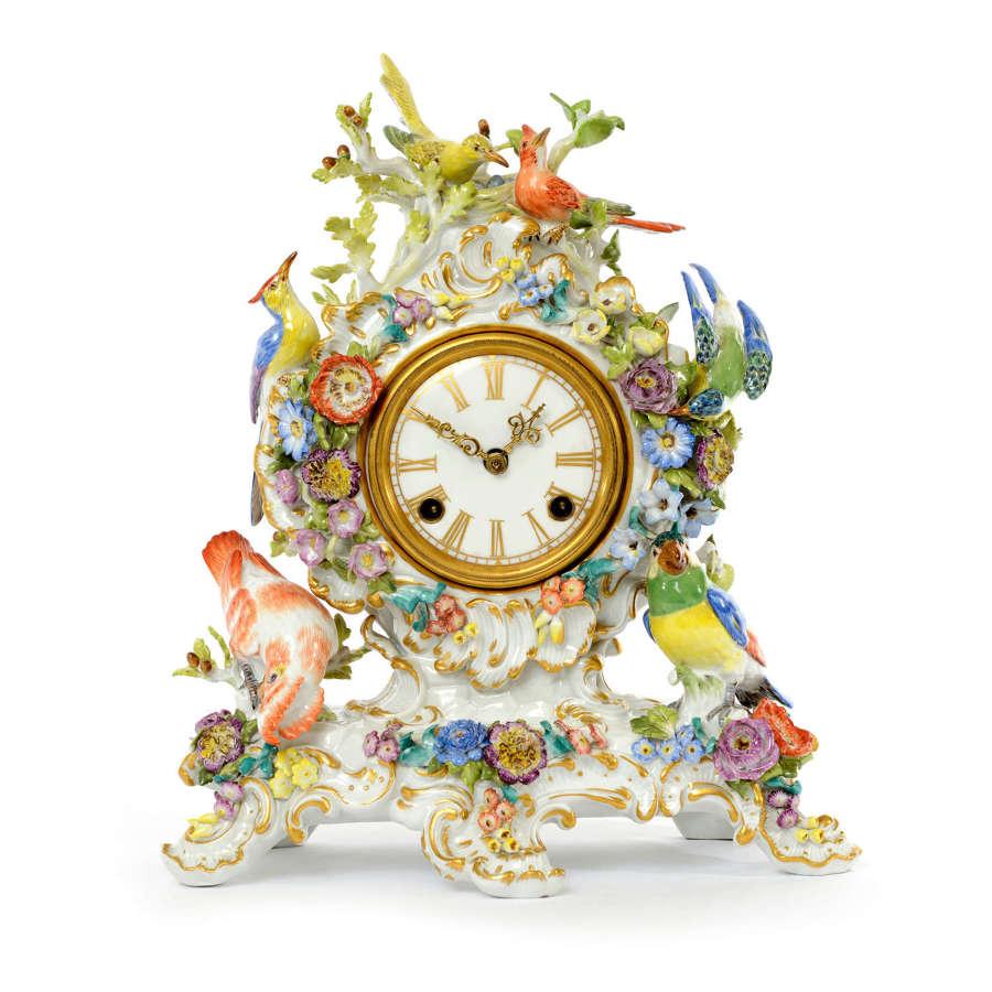 An exceptional Meissen bird clock, 20th Century.