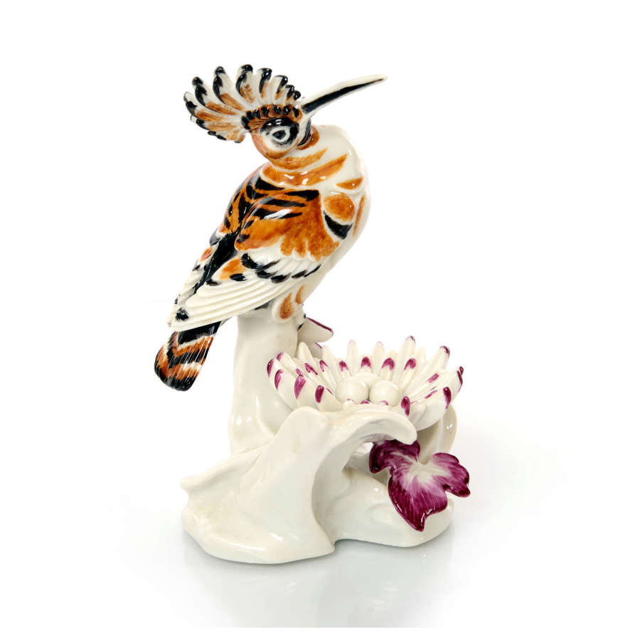 A Meissen figure of a Hoopoe with Nest, mid 20th Century.